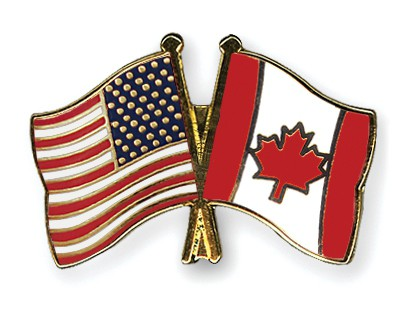 Crossed Flag Pins USA-Canada