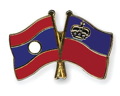 Crossed Flag Pins Laos-Liechtenstein