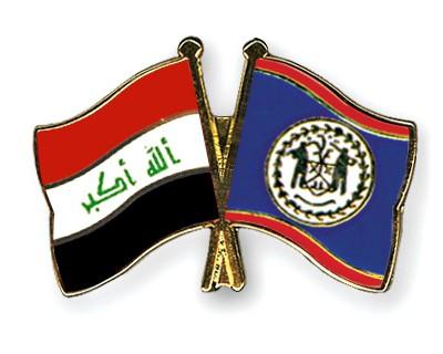 Crossed Flag Pins Iraq-Belize