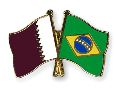 Special Offer Crossed Flag Pins Qatar-Brazil