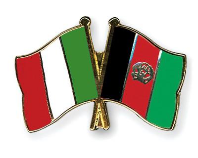 Crossed Flag Pins Italy-Afghanistan