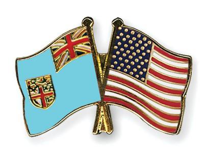 Crossed Flag Pins Fiji-USA