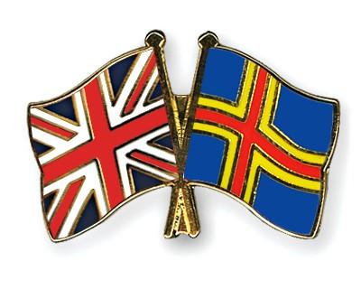 Crossed Flag Pins Great-Britain-Aland