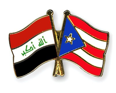 Crossed Flag Pins Iraq-Puerto-Rico