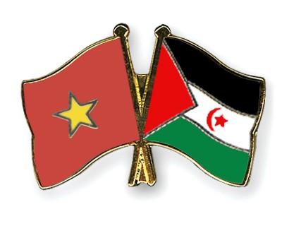 Crossed Flag Pins Vietnam-Western-Sahara
