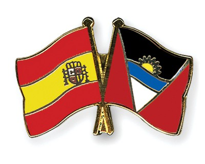 Crossed Flag Pins Spain-Antigua-and-Barbuda