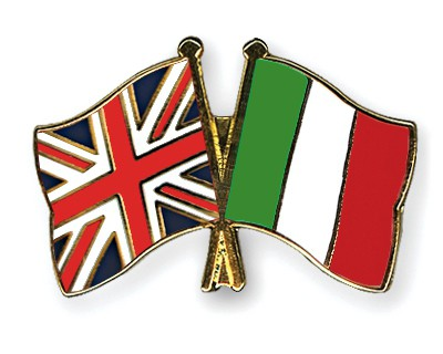 Special Offer Crossed Flag Pins Great Britain-Italy