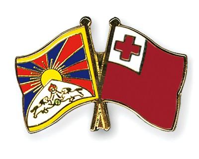 Crossed Flag Pins Tibet-Tonga