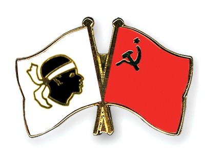 Crossed Flag Pins Corsica-USSR