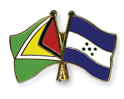 Crossed Flag Pins Guyana-Honduras