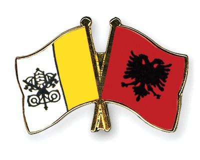 Crossed Flag Pins Vatican-City-Albania