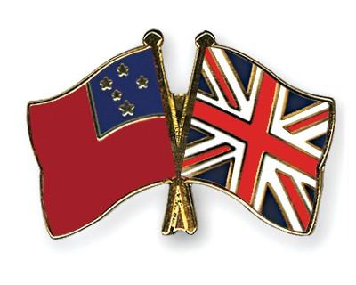 Crossed Flag Pins Samoa-Great-Britain