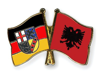 Crossed Flag Pins Saarland-Albania