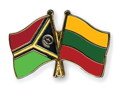 Crossed Flag Pins Vanuatu-Lithuania