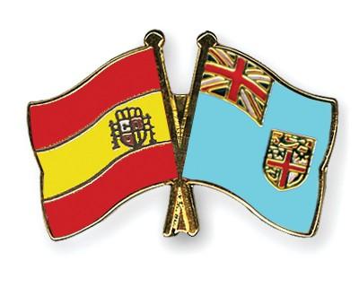 Crossed Flag Pins Spain-Fiji