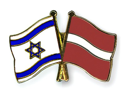 Special Offer Crossed Flag Pins Israel-Latvia
