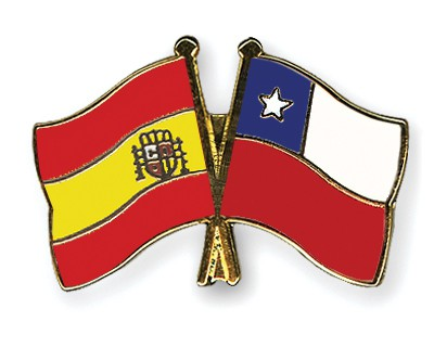 Crossed Flag Pins Spain-Chile