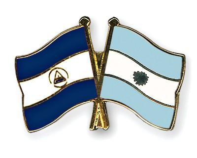 Crossed Flag Pins Nicaragua-Argentina