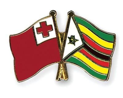 Crossed Flag Pins Tonga-Zimbabwe