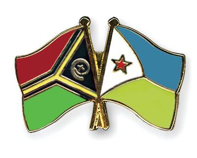 Crossed Flag Pins Vanuatu-Djibouti