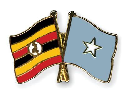 Crossed Flag Pins Uganda-Somalia