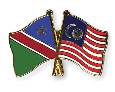 Crossed Flag Pins Namibia-Malaysia