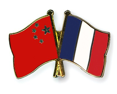 Crossed Flag Pins China-France