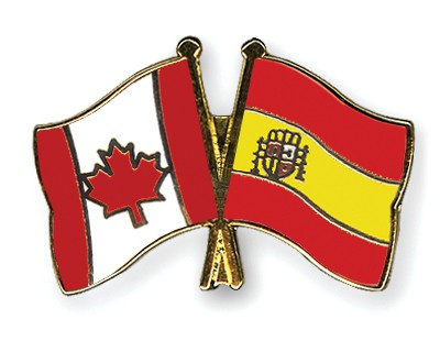 Special Offer Crossed Flag Pins Canada-Spain