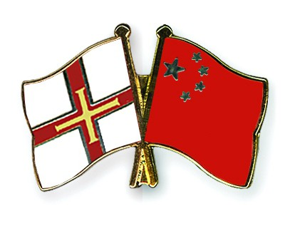 Crossed Flag Pins Guernsey-China