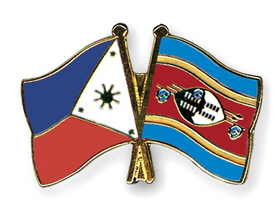 Crossed Flag Pins Philippines-Swaziland