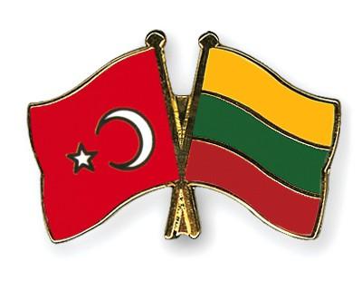 Crossed Flag Pins Turkey-Lithuania