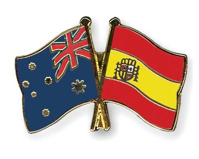 Crossed Flag Pins Australia-Spain