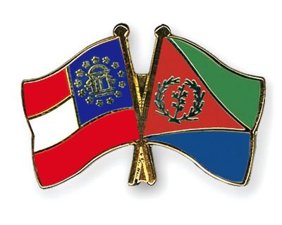 Crossed Flag Pins Georgia-Eritrea