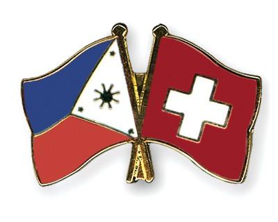Crossed Flag Pins Philippines-Switzerland