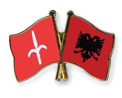 Crossed Flag Pins Trieste-Albania