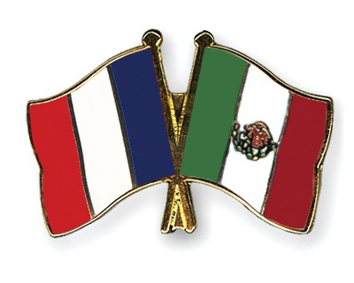 Special Offer Crossed Flag Pins France-Mexico