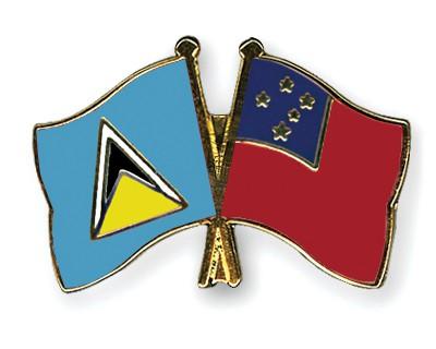 Crossed Flag Pins Saint-Lucia-Samoa