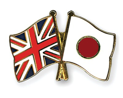 Special Offer Crossed Flag Pins Great Britain-Japan