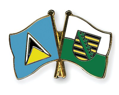 Crossed Flag Pins Saint-Lucia-Saxony