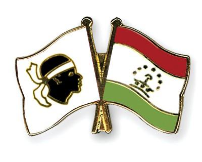 Crossed Flag Pins Corsica-Tajikistan