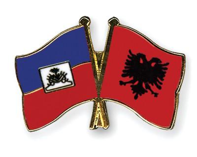 Crossed Flag Pins Haiti-Albania