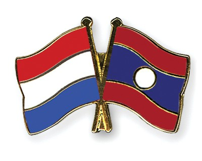 Special Offer Crossed Flag Pins Netherlands-Laos