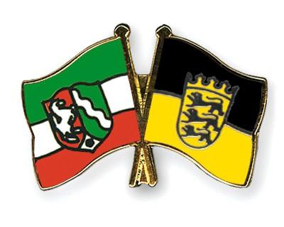 Crossed Flag Pins North-Rhine-Westphalia-Baden-Wuerttemberg