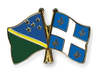 Crossed Flag Pins Solomon-Islands-Quebec