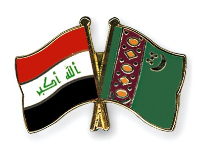 Crossed Flag Pins Iraq-Turkmenistan
