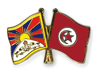 Crossed Flag Pins Tibet-Tunisia