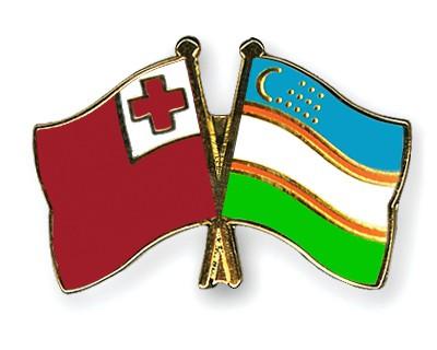 Crossed Flag Pins Tonga-Uzbekistan