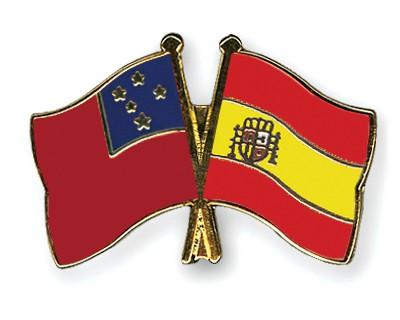 Crossed Flag Pins Samoa-Spain