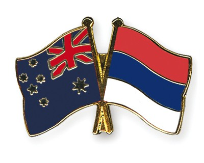 Special Offer Crossed Flag Pins Australia-Serbia