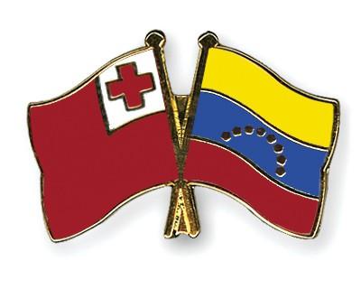 Crossed Flag Pins Tonga-Venezuela